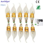 YouOKLight E14 3W 220lm 6-SMD 5730 Warm White LED Pointed Tail Shape Candle Bulb (10PCS, AC 85~265V)