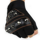 Rivet Combat Tactics Outdoor Sports Anti-Skid Bicycle Half Finger Gloves - Tawny + Black