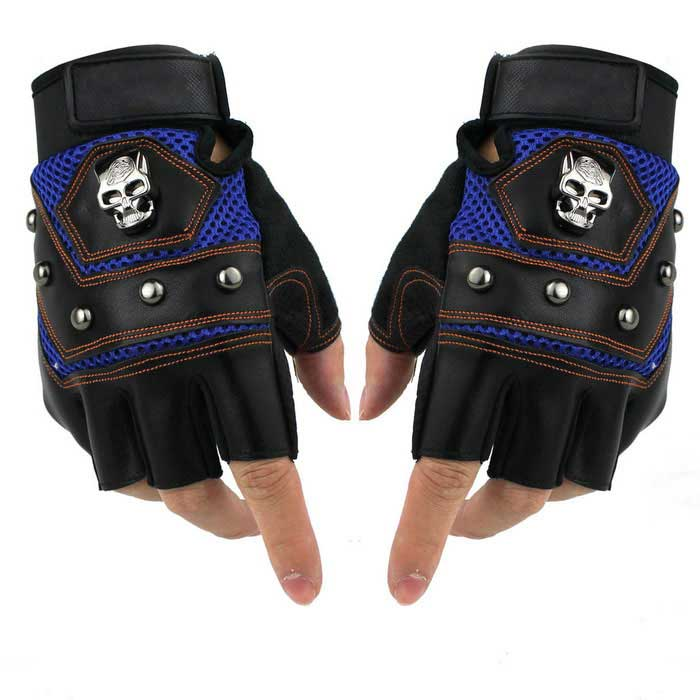 Men's Skull Style Outdoor Sports Anti-Skid Bicycle Half Finger Gloves - Black + Blue (Pair)