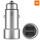 Original Xiaomi CZCDQ01ZM Dual USB Metal Appearance Quick Charge Car Charger - Black + Silver
