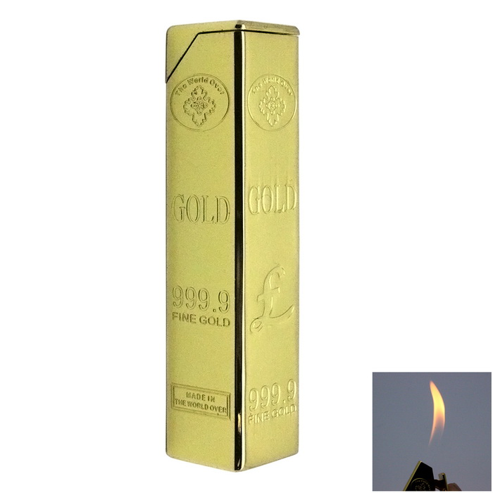 Novel Gold Bar Design Gas Lighter - GoldenButane Jet Lighters<br>Form  ColorGoldenModelSYS0050MaterialMetalQuantity1 DX.PCM.Model.AttributeModel.UnitShade Of ColorGoldTypeGasWindproofNoFuelButane GasPacking List1 x Lighter1 x Box<br>