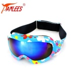 Panlees Double-Layer PC Lens TPU Frame Anti-Fog Skiing Goggles for Children - Blue