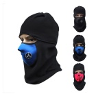 Motorcycle Windproof Warm Fleece Face Mask Hat Headwear Outdoors Gear - Black + Blue