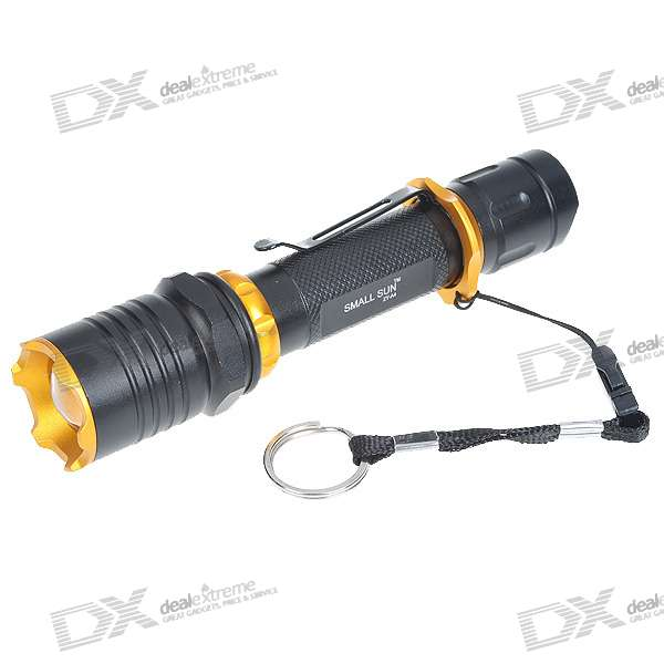 SmallSun ZY-A4 Convex Lens Cree Q3-WC LED 3-Mode 130LM Flashlight with Clip + Strap (1*18650)