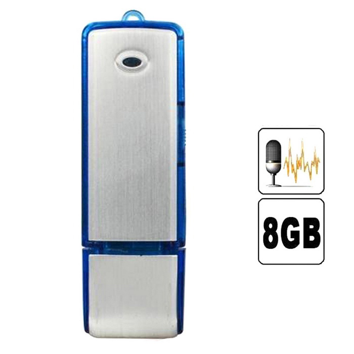 2-in-1 Mini 8GB USB 2.0 Flash Drive Rechargeable Voice Recorder - Silver + Blue
