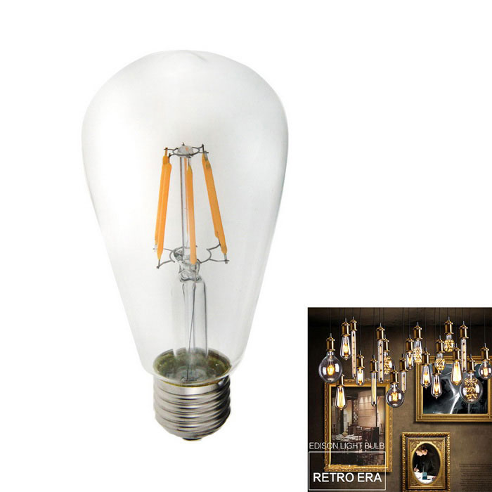 E27 6W 560lm 3000K Warm White 6-LED Filament Bulb (85V~265V)
