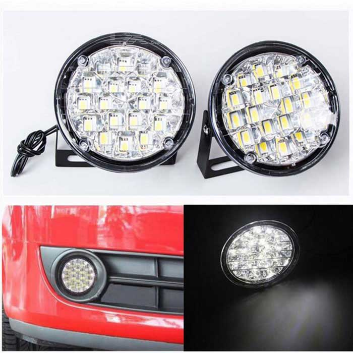 CARKING voiture 8W 500lm 6000K blanc 18 LED DRL jour Round Courir Lampe Phare Lampe (12V)