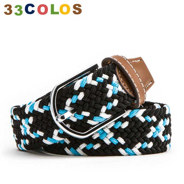 Unisex Simple Elastic Weave Belt - Blue + Black + White (NO.39)