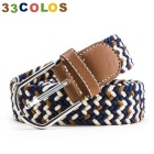 Unisex simples Elastic Weave Belt - Azul + Brown + White (NO.35)