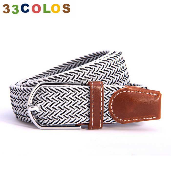Unisex Simple Elastic Weave Belt - White + Black (NO.23)