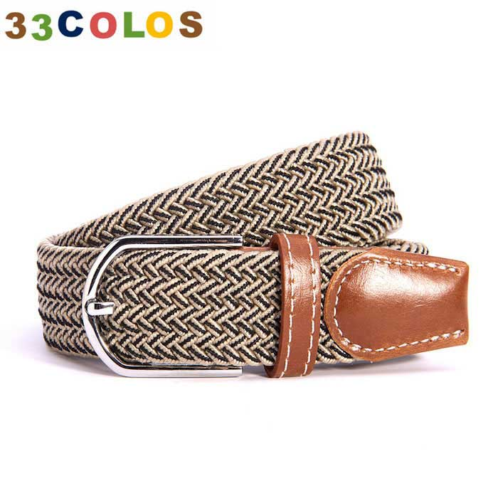 Unisex Simple Elastic Weave Belt - Khaki + Black (NO.24)