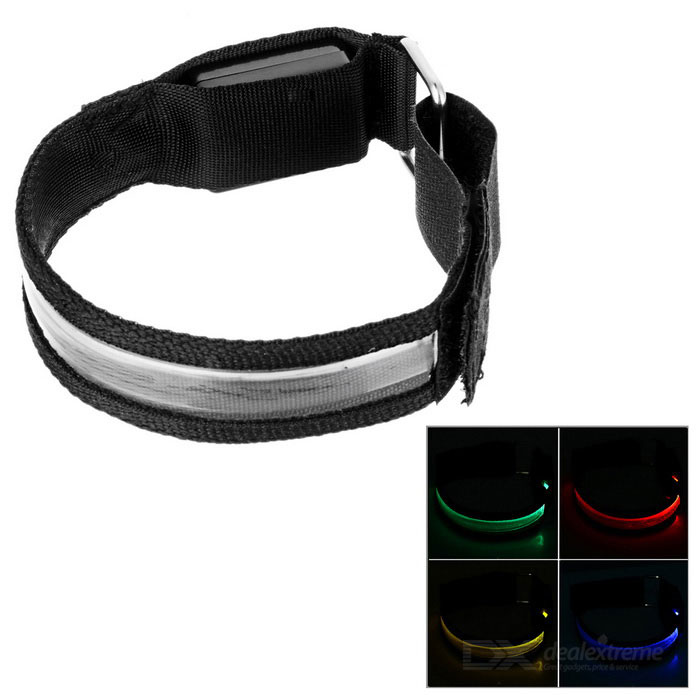 Outdoor Sports Colorful Light 3-Mode LED Flashing Safety Armband - Black + Silver (2*CR2032)
