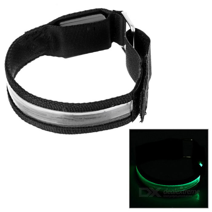 Sports Outdoor Luz verde 3-Mode LED piscando Segurança Armband - Black (2 * CR2032)
