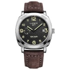 MEGIR 378303 Men's Leather Strap Quartz Watch w/ Seconds Subdial - Coffee + Black (1*SR626-06)