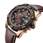 MEGIR 378203 Men's Leather Strap Quartz Watch - Brown + Rose Gold