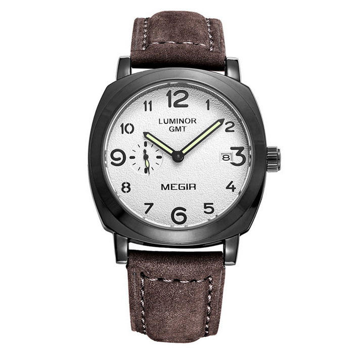 MEGIR 378302 Men's Leather Strap Quartz Watch - Coffee + White