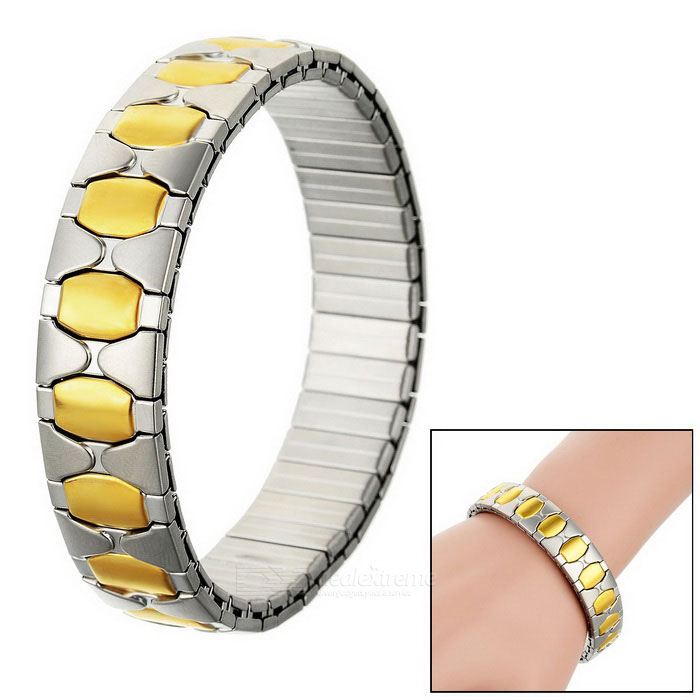 Unisex Elastic Watchband Style Stainless Steel Bracelet Bangle - Silver + Golden Yellow