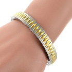 Elastic Rhombus Pattern Watchband Style Stainless Steel Bracelet Bangle - Golden Yellow + Silver
