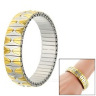 Elastic Hills Pattern Watchband Style Stainless Steel Bracelet Bangle - Golden Yellow + Silver