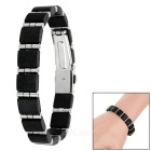 Unisex Fashionable Stainless Steel + Plastic Buckle Bracelet - Black + Silver