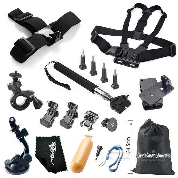 18-in-1 Outdoor Sports Camera Accessories Kit for GoPro Hero 1, 2, 3, 3+, 4, 4 Session - BlackOther GoPro Accessories<br>Form  ColorBlackQuantity1 DX.PCM.Model.AttributeModel.UnitMaterialABSShade Of ColorBlackPacking List1 x Headband1 x Chest strap1 x Retractable handheld monopod (extended length: 105cm)1 x Car suction cup mount holder1 x Floating grip mount2 x Tripod mount adapters2 x Vertical surface J-hook buckles4 x Long screw bolts 1 x Buckle basic mount1 x 360-degree rotation clip 1 x Bike mount1 x Cleaning cloth1 x Bag<br>