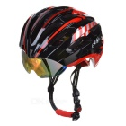 JCSP E-205 Outdoor Cycling PC Bike Safety Helmet w/ Windproof Goggles - Black + Red