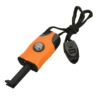Outdoor Survival Flint Stone Fire Starter w/ Glow-in-the-Dark Compass & Whistle - Orange + Black