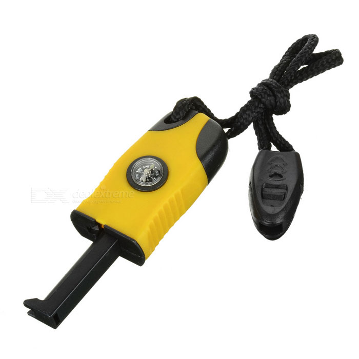 Outdoor Survival Flint Stone Fire Starter w/ Glow-in-the-Dark Compass & Whistle - Yellow + Black