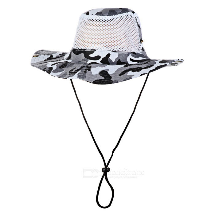 Outdoor Sports Hiking Fishing Camouflage Wide Brim Boonie Hat - Grey + White