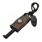 Outdoor Survival Flint Stone Fire Starter w/ Glow-in-the-Dark Compass & Whistle - Dark Brown + Black