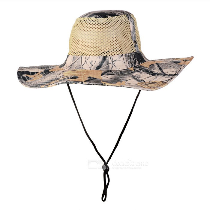 Sports Hiking Fishing Camouflage Wide Brim Boonie Hat - Khaki + Black