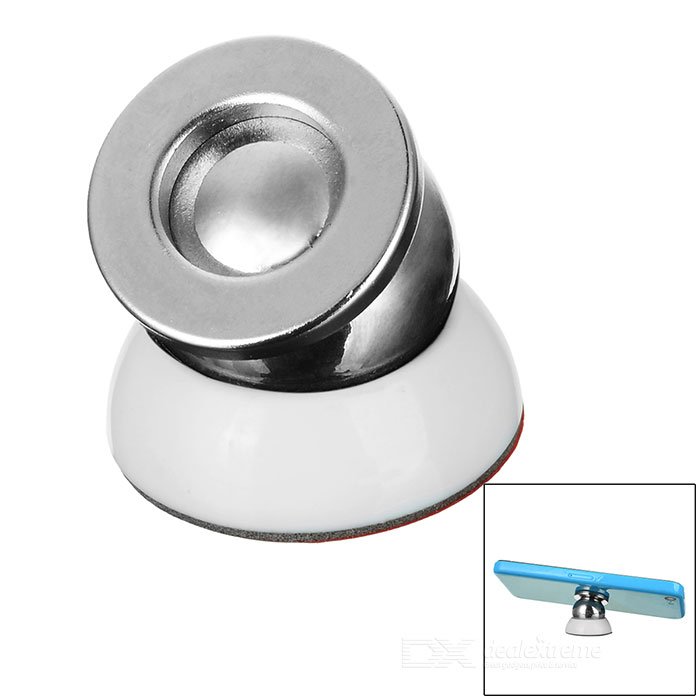 Magnetic Adhesive Hanging Type Car Mount Phone Holder - White + Silver