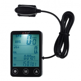 """BOGEER YT-308 2"""" Touch Screen 24-Function Water-Resistant Wired Bike Computer - Black (1*CR2032)"""