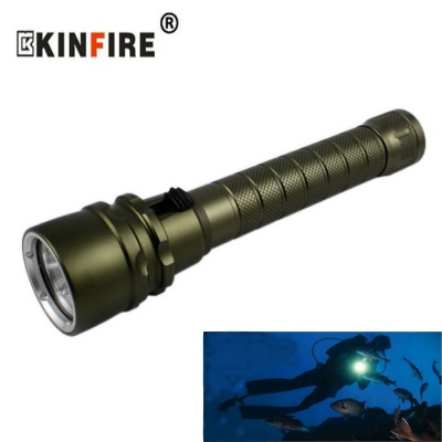KINFIRE KC30 XM L2 3-LED 1800lm Dimming Diving Flashlight - Dark Green (2*18650)