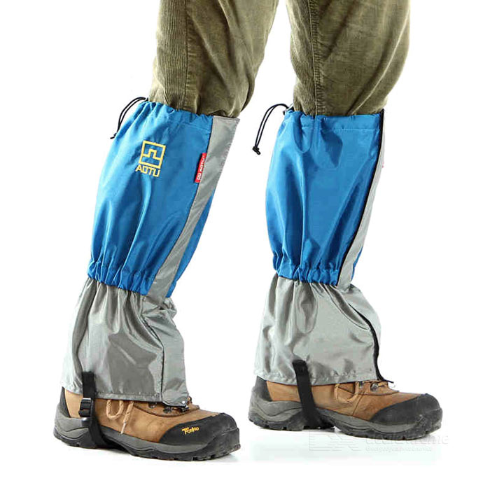 AoTu Outdoor Water-Resistant Warm Snow Shoes Cover Wrap Legging Gaiter - Blue + Grey (Pair)
