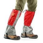 AoTu Outdoor Water-Resistant Warm Snow Shoes Cover Wrap Legging Gaiter - Grey + Red (Pair)