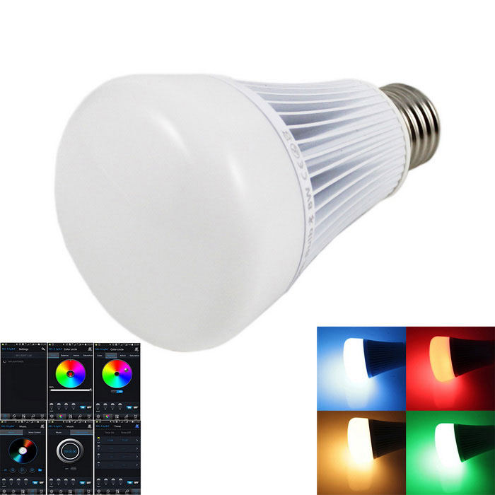 E27 8W 550lm LED Bluetooth Bulb RGB+White+Warm White Light - White (AC 85~265V)