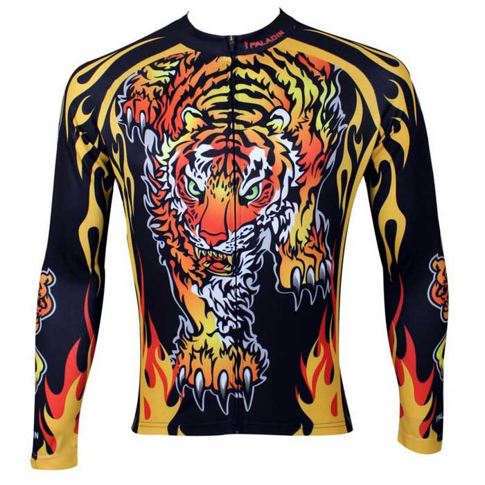 Paladinsport Men's Tiger Pattern Cycling Jersey - Black + Yellow (L)