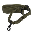 Adjustable One Single Point Rifle Gun Sling Bungee Strap w/ Hook - Army Green + Black
