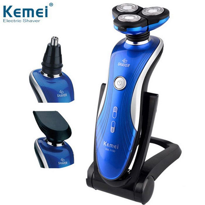 KEMEI KM-1150 3-in-1 Washable Rechargeable Electric Shaver Triple Blade Shaving Razor for Men - Blue