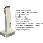 KEMEI KM-619 Professional Portable Rechargeable Electric Hair Clipper - White