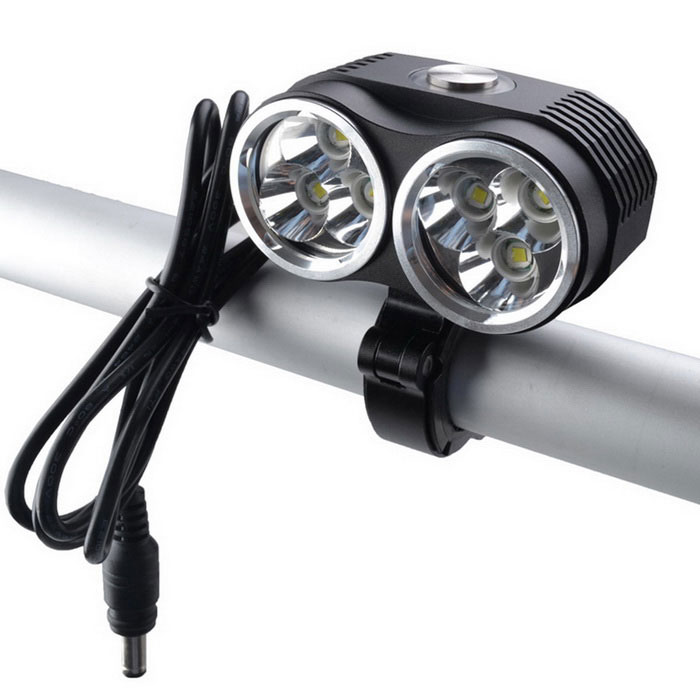 RichFire SF-663 T6 6-LED 4800lm 3-Mode Branco Bike Light Lamp - Preto