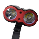 RichFire SF-662 XM-L T6 2-LED 1800lm 3-Mode Cold White Bike Light Lamp - Black + Red (4*18650)
