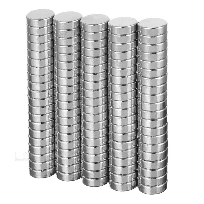 D12*4mm Round N35 NdFeB Neodymium Magnets Set - Silver (100PCS)