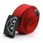 Unisex Polka Dot Pattern Simple Canvas Belt - Red