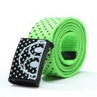 Unisex Polka Dot Pattern Simple Canvas Belt - Green