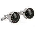 Jewelry Brass Material Thermometer Shape Cufflinks - Silver + Multi-Color (Pair)