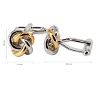 Jewelry Brass Material Knot Shape Cufflinks - Silver + Golden (Pair)