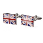 Jewelry Brass Material UK Flag Shape Cufflinks - Silver + Multi-Color (Pair)
