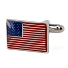 Jewelry Brass Material US Flag Shape Cufflinks - Silver + Multi-Color (Pair)